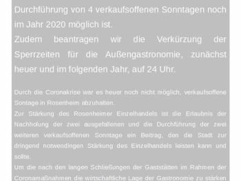 Antrag zur Stärkung von Handel und Gastronomie in Rosenheim