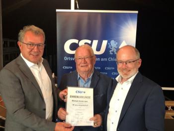 Ehrung für 60 Jahre Mitgliedschaft in der CSU