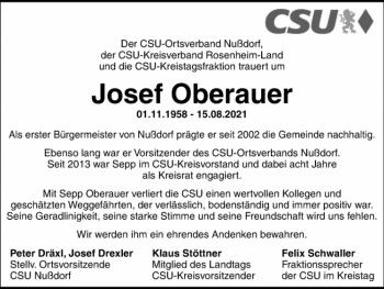 Die CSU Familie trauert um Josef Oberauer